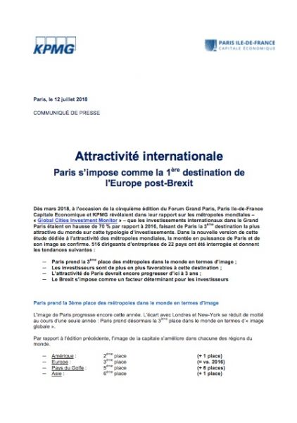 Attractivité internationale – Paris s'impose comme la 1ère destination de l'Europe post-Brexit